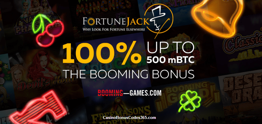FortuneJack 100% up to 500mBTC Booming Games