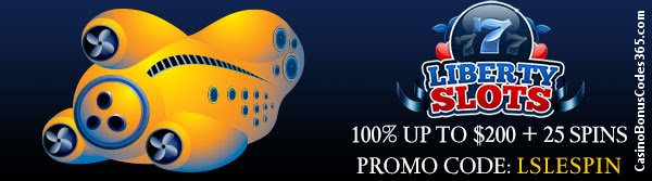 Liberty Slots 100% up to $200 plus 25 Free Spins Special Offer