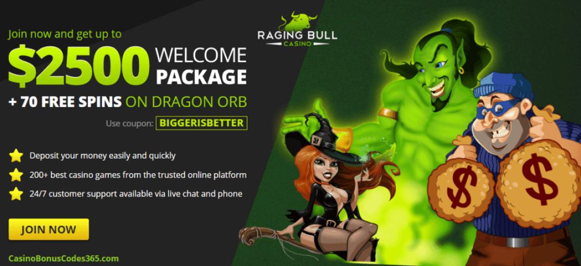 Raging Bull Casino 250% Welcome Bonus plus 70 FREE Spins