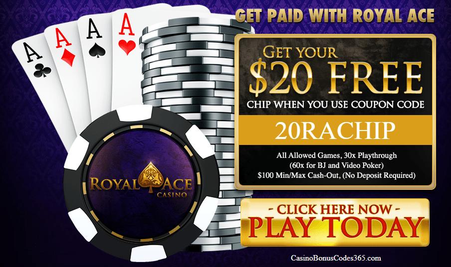 Royal Ace Casino $20 FREE Chips No Deposit Bonus