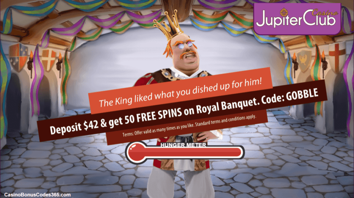 Jupiter Club Casino Deposit $42 and get 50 FREE Spins on Royal Banquet