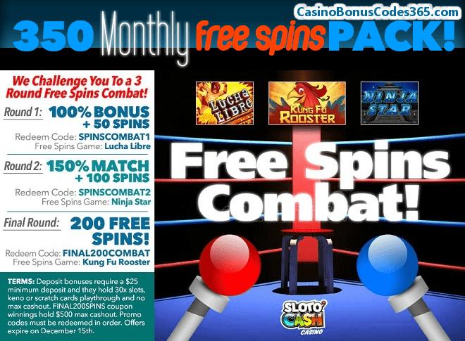 SlotoCash Casino 350 FREE Spins Pack November Combat
