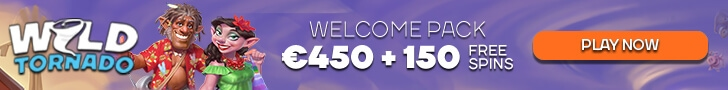 WildTornado Casino €450 Bonus plus 150 FREE Spins Welcome Package