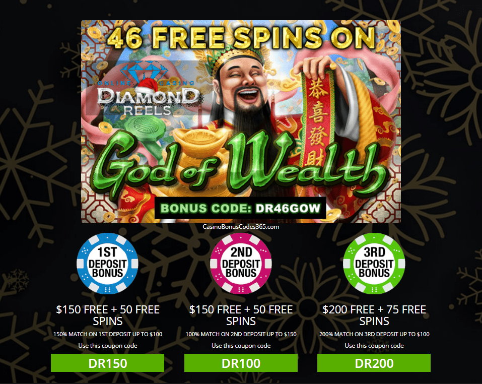 Diamond Reels Casino Exclusive 46 Free God Of Wealth Spins