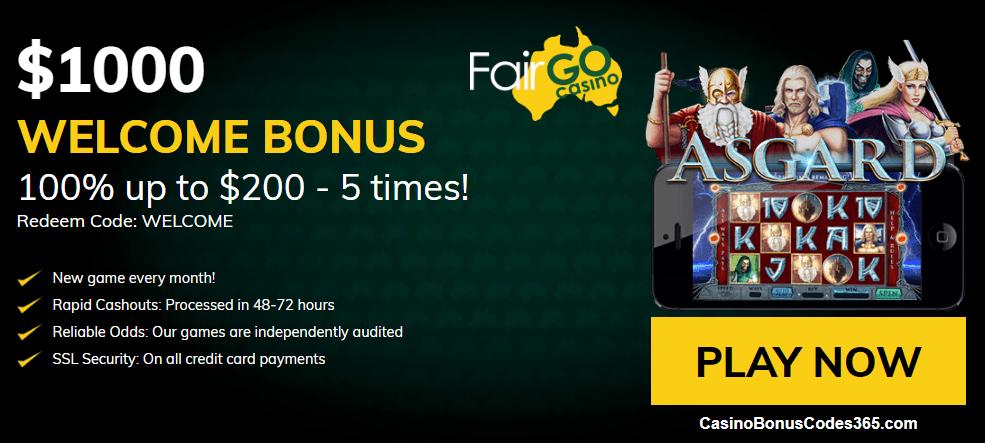 Fair Go Casino RTG New Game Asgard 400% up to $4000 Bonus