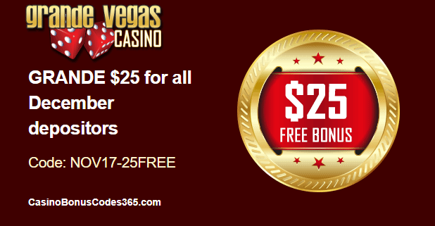 Grande Vegas Casino December Holiday Season $25 FREE Chip
