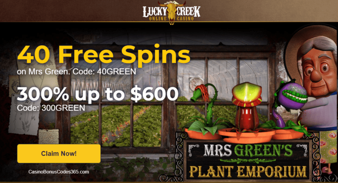 Lucky Creek Casino Saucify Mrs Green Plant Emporium 40 FREE Spins plus 300% up to $600