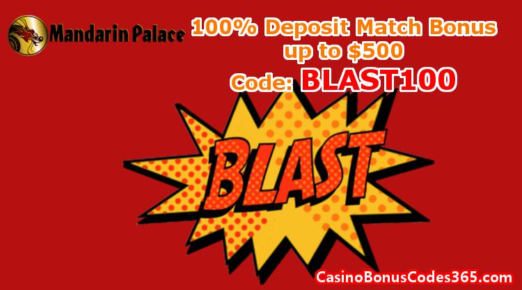Mandarin Palace Online Casino December Promo 100% Bonus up to $500