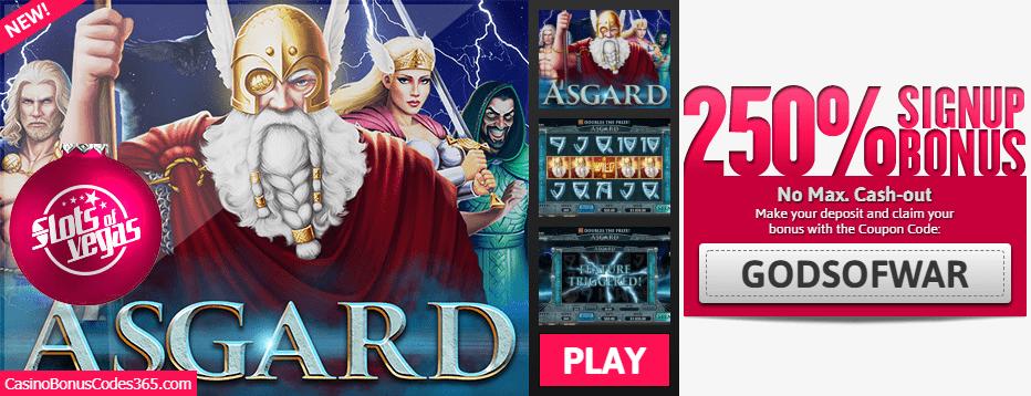 Slots of Vegas RTG Asgard 250% Sign up Bonus