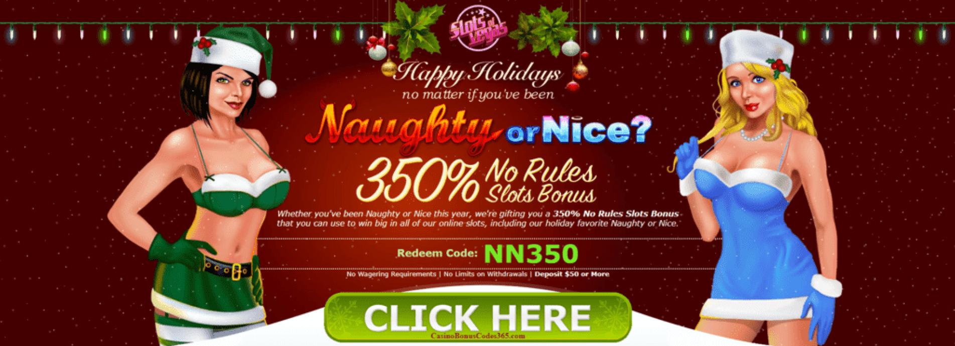 Slots of Vegas RTG Naughty or Nice Happy Holidays 350% No Playthrough No Max Bonus