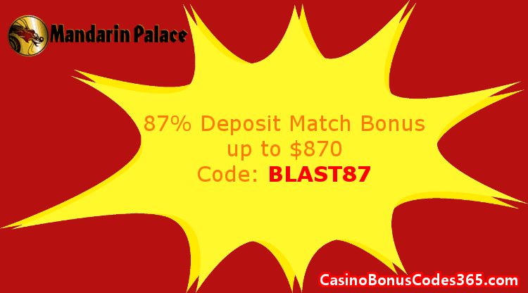 Mandarin Palace Online Casino January 2018 87% Match up to $870 Deposit Bonus