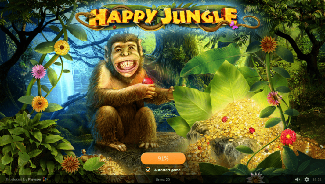 MyWin24 Playson Happy Jungle 15 No Deposit FREE Spins
