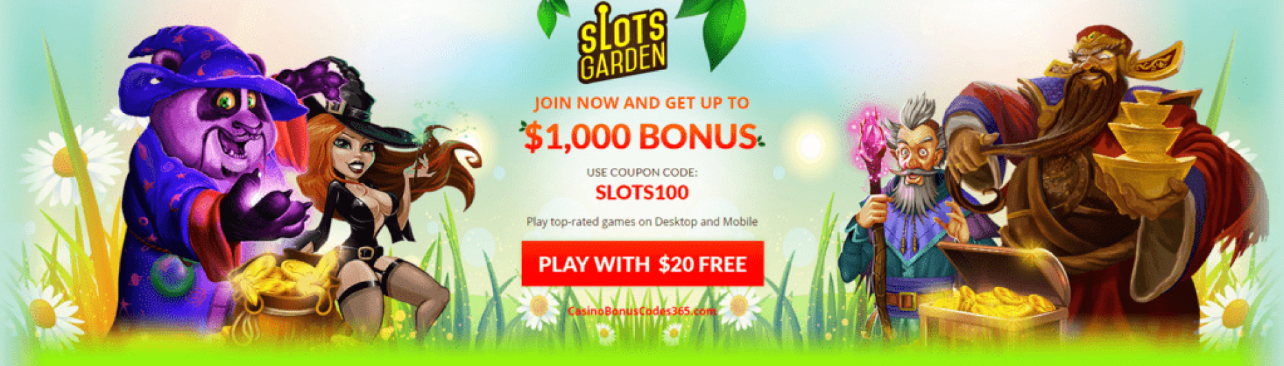Slots Garden $1000 Welcome Bonus plus $20 No Deposit FREE Chip