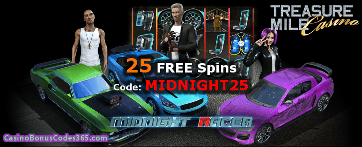 Treasure Mile Casino Saucify Midnight Racer 25 FREE Spins