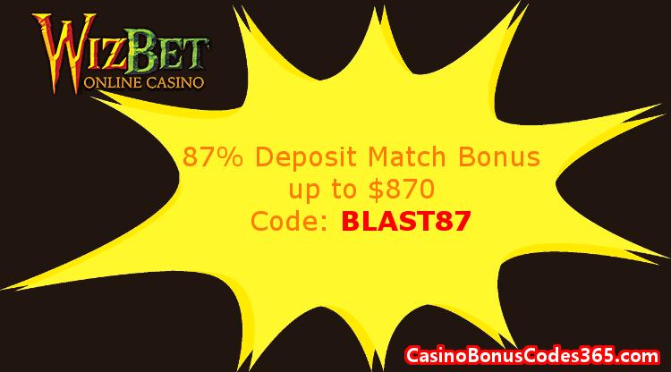 WizBet Online Casino January 2018 87% Match up to $870 Deposit Bonus