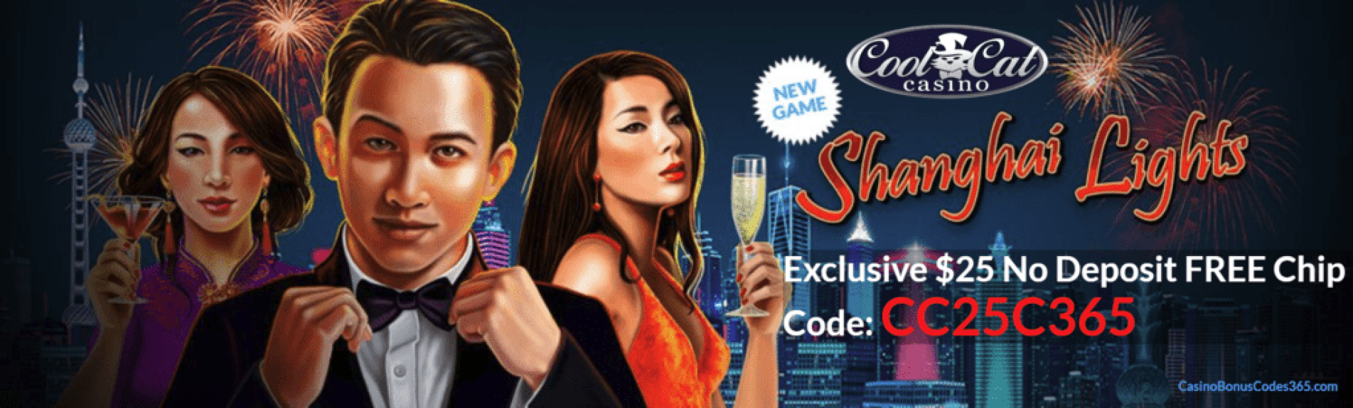 CoolCat Casino RTG Shanghai Lights Exclusive No Deposit FREE Chip