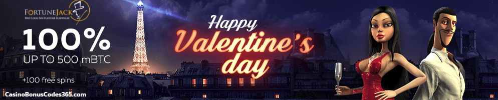 FortuneJack Casino Happy Valentine's Day  100% bonus up to 500 mBTC plus 100 free spins
