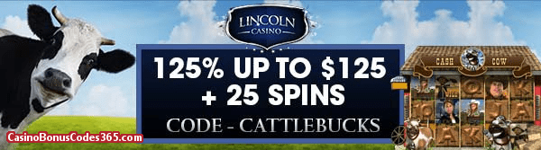 Lincoln Casino March 2018 125% up to $125 plus WGS Cash Cow 25 Spins
