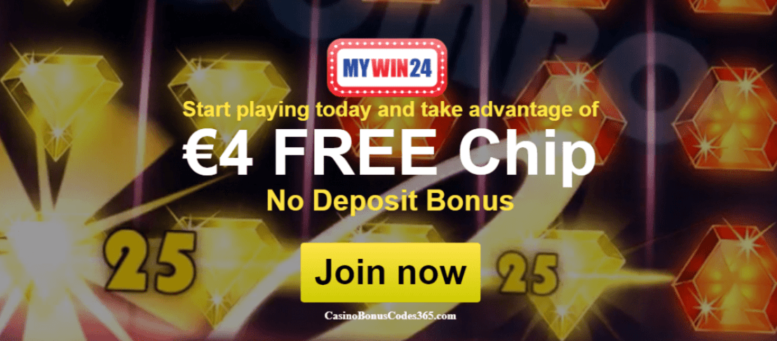MyWin24 €4 FREE Chip No Deposit Bonus Welcome Offer