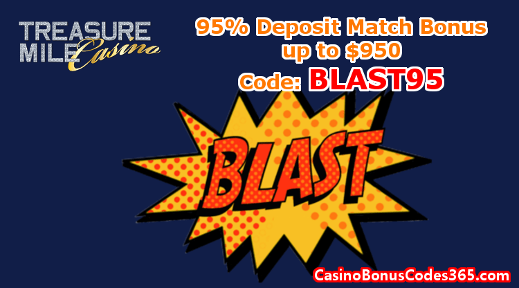 Treasure Mile Casino Exclusive Bonus 95% up to $950