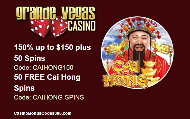 Grande Vegas Casino New Game RTG Cai Hong 150% up to $150 and 50 free spins on top and 50 free spins extra