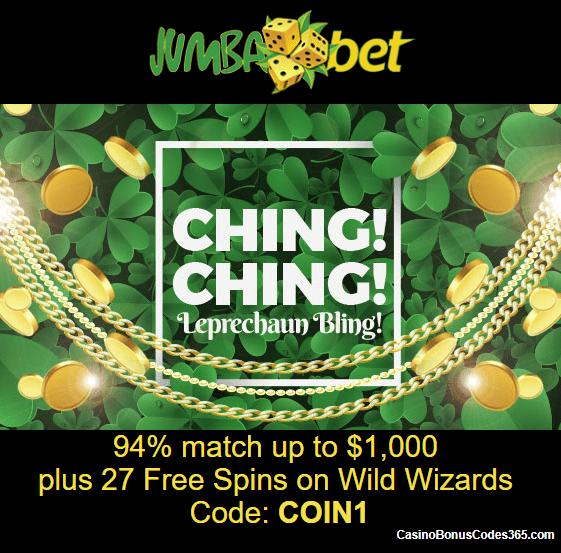 Jumba Bet St. Patrick's Day Promotion Deposit Match Bonus plus FREE Spins
