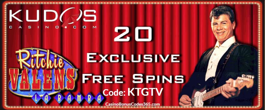 Kudos Casino RTG 20 FREE Spins Ritchie Valens La Bamba