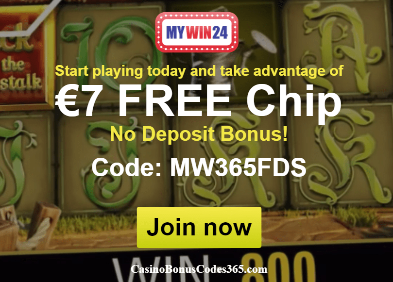MyWin24 €7 No Deposit FREE Chip Offer