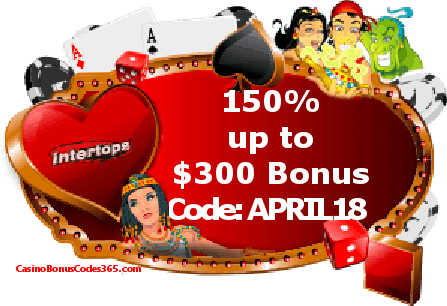 Intertops Casino Red 150% up tp $300 April Exclusive Deal
