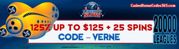 Liberty Slots 125% up to $125 plus 25 Spins WGS 20000 Leagues