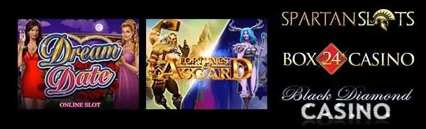 Spartan Slots Box 24 Casino Black Diamond Casino Microgaming Fortunes of Asgard Dream Date