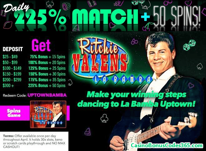 Uptown Aces 225% Daily Match plus 50 FREE Spins RTG Ritchie Valens La Bamba