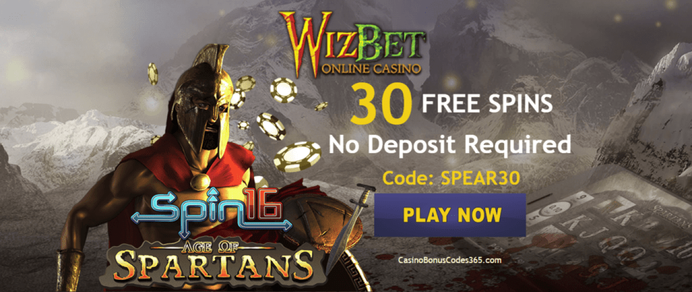 WizBet Online Casino Exclusive 30 FREE Spins Age of Spartans Spin 16
