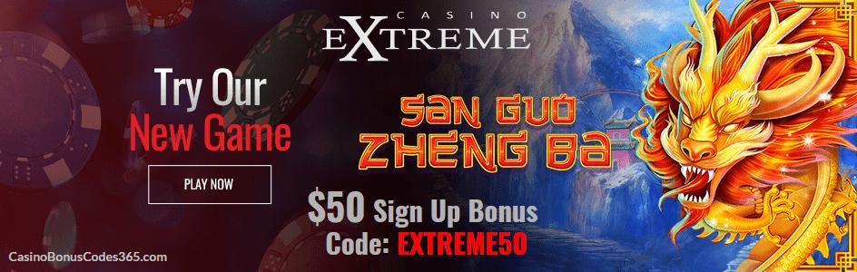 Casino Extreme New RTG Game San Guo Zheng Ba $50 FREE Chip Sign up bonus