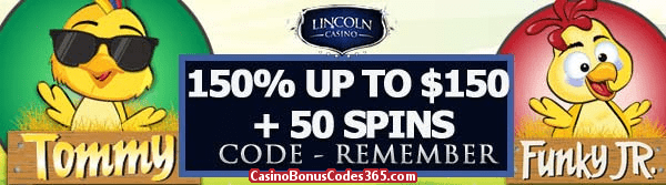 Lincoln Casino 150% up to $150 Bonus plus 50 FREE Funky Chicks Spins