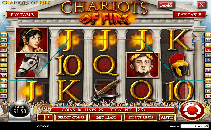 Vegas2Web Casino Rival Gaming Chariots of Fire
