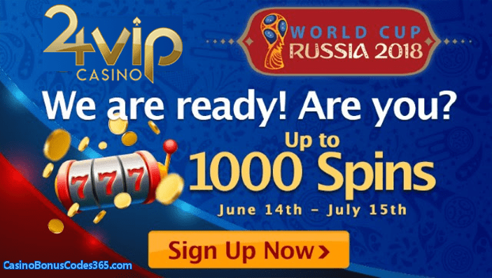 24VIP Casino 1000 FREE Spins World Cup Promo