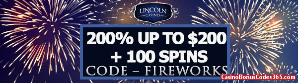 Lincoln Casino 200% up to $200 plus 100 Spins WGS Triple 10X Wild