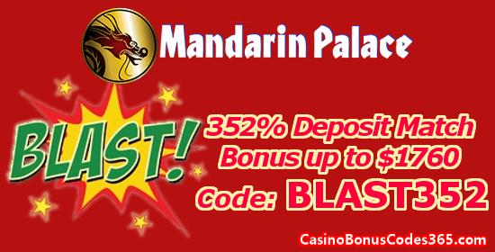 Mandarin Palace Online Casino 352% up to $1760 Deposit Match Bonus