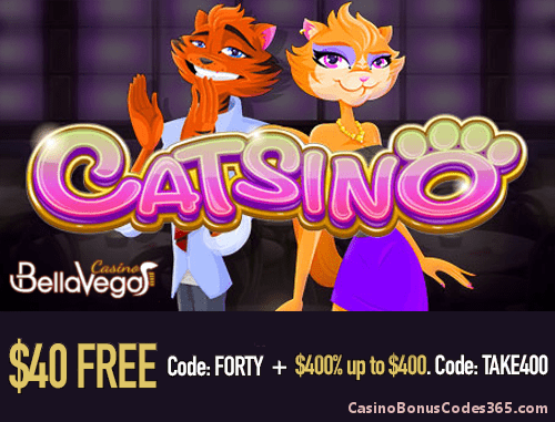 Bella Vegas Casino Rival Gaming Catsino $40 FREE Chip plus 400% up to $4000 Bonus