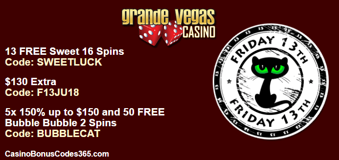 Grande Vegas Casino Special Friday the 13th Promo