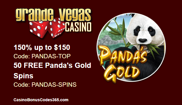 Grande Vegas Casino New Game RTG Pandas Gold 150% Bonus plus 50 FREE Spins
