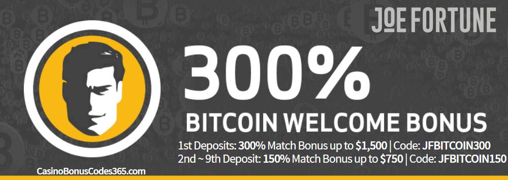 Joe Fortune 300% Bitcoin Bonus