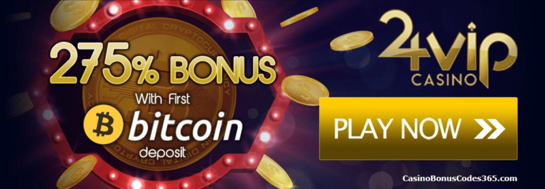 24VIP Casino 275% Bitcoin Bonus