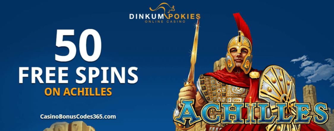 Dinkum Pokies Exclusive 50 FREE Dinkum Pokies Exclusive 40 FREE Spins RTG Achilles
