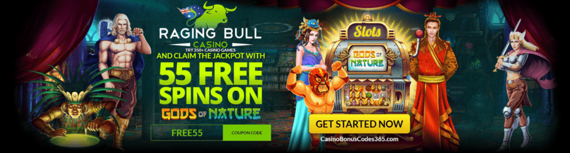 Raging Bull Casino AUD 55 FREE Spins on Gods of Nature RTG