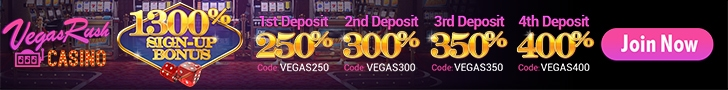 Vegas Rush Casino $1300 Welcome Bonus