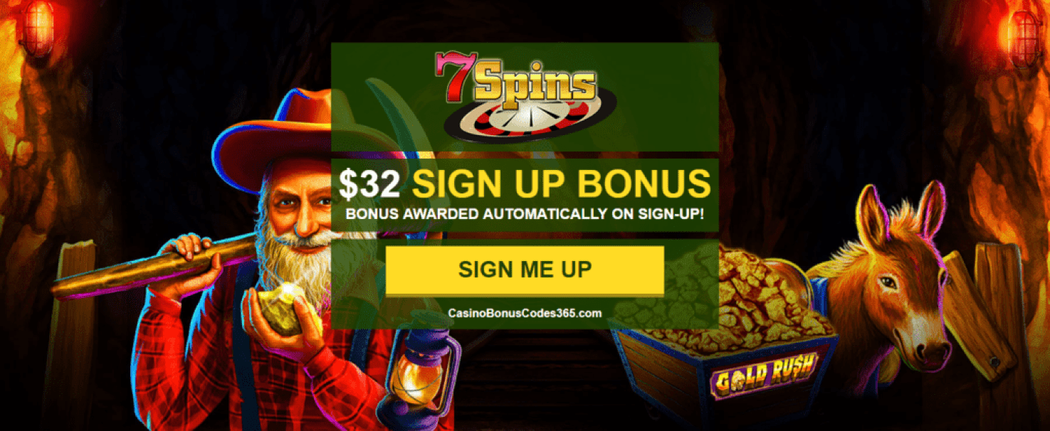 7 Spins Online Casino Exclusive $32 FREE Chip Sign Up Deal