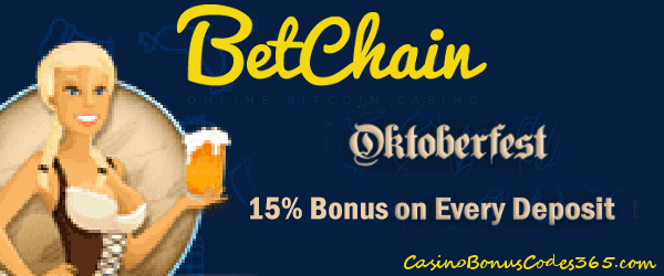 Betchain Bitcoin Casino Oktoberfest 15% Match Bonus on Every Deposit