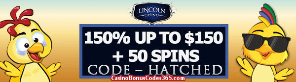 Lincoln Casino 150% up to $150 Bonus plus 50 FREE Spins on Funky Chicks